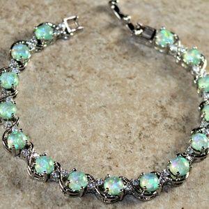 Jewelry - Green Fire Opal Round Silver Bracelet
